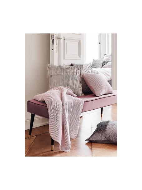 Samt-Sitzbank Beverly, Bezug: Samt (Polyester) 50.000 S, Gestell: Eukalyptusholz, Beine: Metall, pulverbeschichtet, Altrosa, 140 x 46 cm