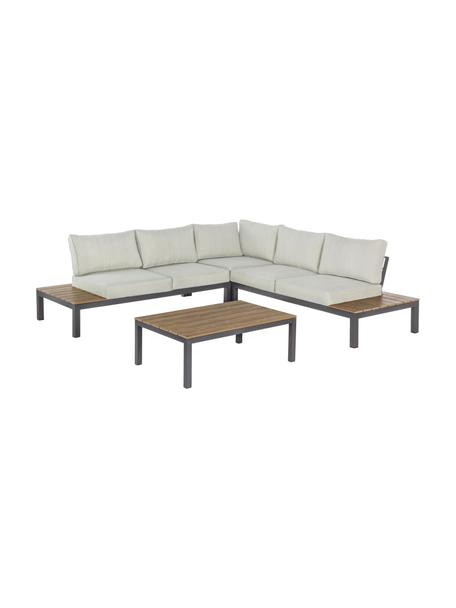 Tuin loungeset Elias, 4-delig, Frame: gepoedercoat en corrosieb, Plateaus: kunststof in hout-optiek, Crèmekleurig, antraciet, 246 x 246 cm