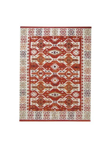 Alfombra artesanal de lana Kilim, 100%lana, Rojo, beige, naranja, marrón, An 120 x L 180 cm (Tamaño S)