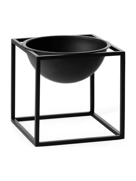 Design schaal Kubus, Gelakt staal, Zwart, 14 x 14 cm
