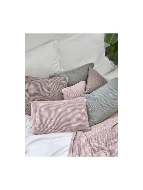 Federa arredo fatta a maglia rosa cipria Adalyn, 100% cotone biologico, certificato GOTS, Rosa, Larg. 30 x Lung. 50 cm