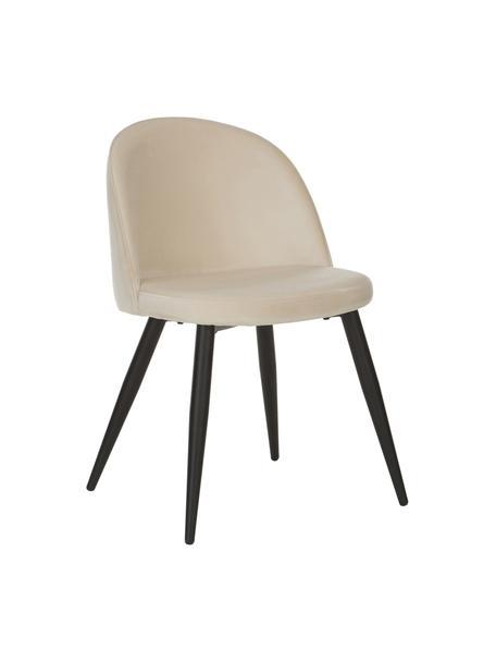 Moderne fluwelen stoelen Amy, 2 stuks, Bekleding: fluweel (polyester) De be, Poten: gepoedercoat metaal, Crèmewit, B 51 x D 55 cm