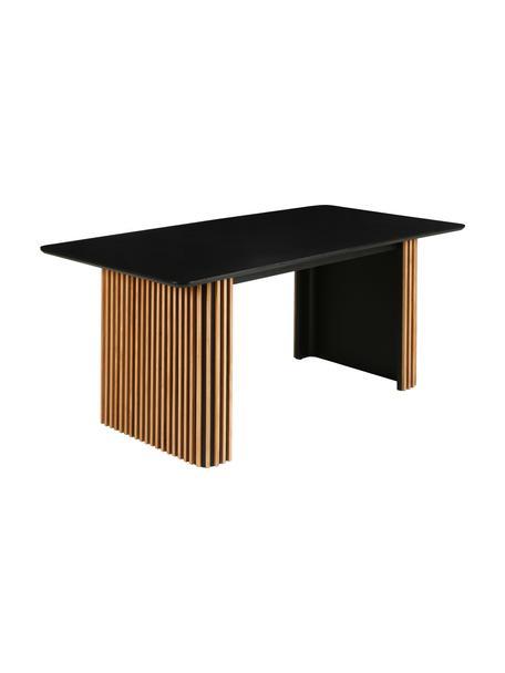 Verlengbare eettafel Linea, Zwart, eikenhoutkleurig, B 180-230 x D 90 cm