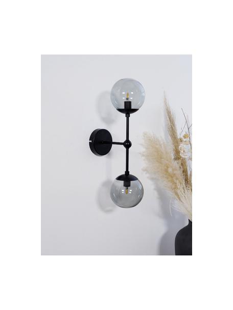 Wandleuchte Beth aus Glas, Gestell: Metall, pulverbeschichtet, Grau, Schwarz, Ø 12 x H 45 cm