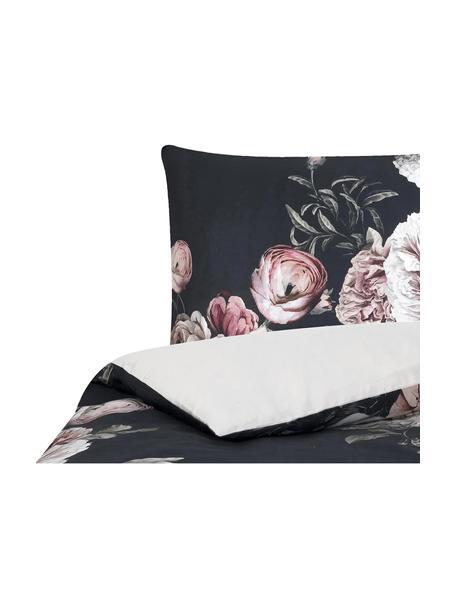 Parure copripiumino in raso di cotone Blossom, Nero, 155 x 200 cm + 1 federa 50 x 80 cm