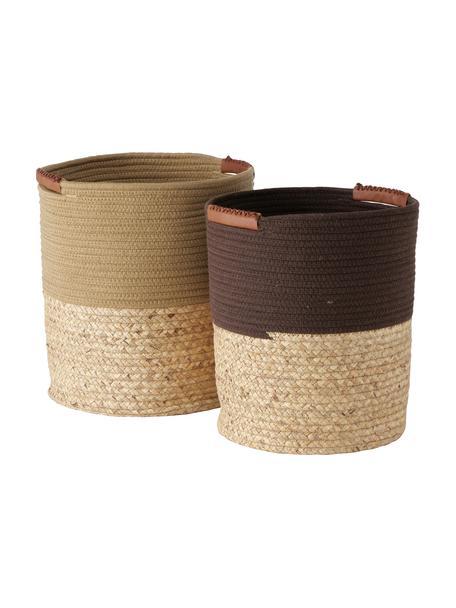 Handgeweven opbergmandenset Zahara, 2-delig, Mand: 45% polyester, 55% stro, , Handvatten: kunstleer, Bruin, Set met verschillende formaten