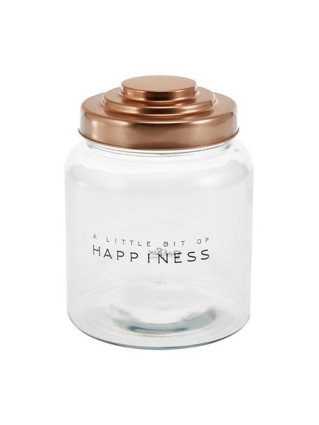 Barattolo con coperchio Happiness, Coperchio: porcellana, verniciato, Trasparente, Ø 16 x Alt. 21 cm