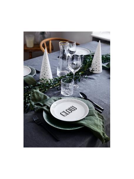 Porselein ontbijtbord Glimmer met zwart opschrift, 4-delig, Porselein, Wit, zwart, Ø 21 cm