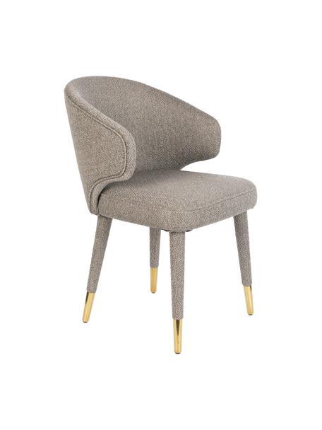 Gestoffeerde stoel Lunar in taupe met goudkleurige pootkapjes, Bekleding: 100% polyester fluweel, Frame: multiplex, rubberhout, Poten: gepoedercoat metaal, Geweven stof taupe, 52 x 59 cm