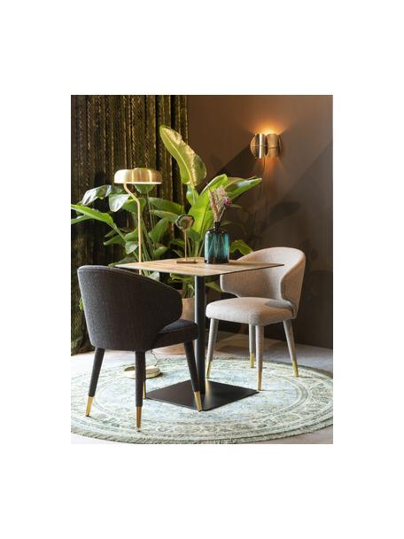 Gestoffeerde stoel Lunar in taupe, Bekleding: 100% polyester fluweel, Frame: multiplex, rubberhout, Poten: gepoedercoat staal, Taupe, messingkleurig, 52 x 59 cm