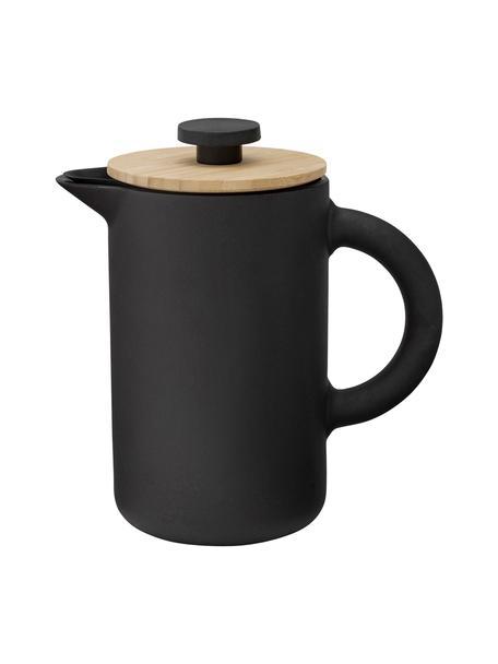 Caffettiera nera opaca Theo, Terracotta, Nero opaco Coperchio: marrone chiaro, 800 ml