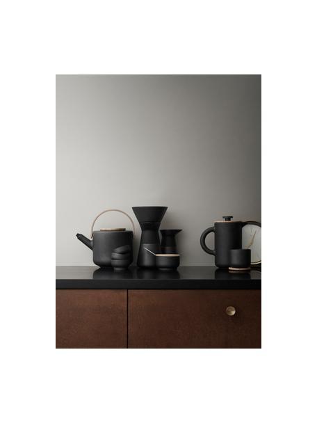 Kaffeebereiter Theo in Schwarz matt, Steinzeug, Schwarz, matt Deckel: Hellbraun, 800 ml