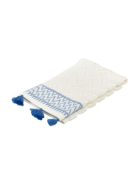 Asciugamano in cotone con motivo a rilievo Karma, 100% cotone Qualità pesante, 600 g/m², Bianco, blu, Asciugamano per ospiti