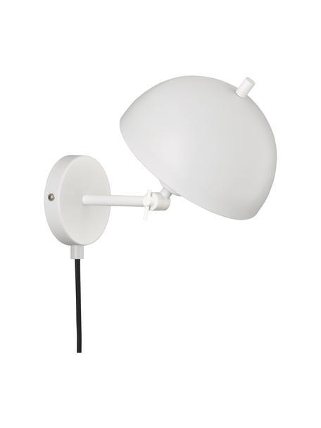 Aplique Kia, estilo retro, con enchufe, Pantalla: metal recubierto, Cable: cubierto en tela, Blanco, An 20 x Al 25 cm