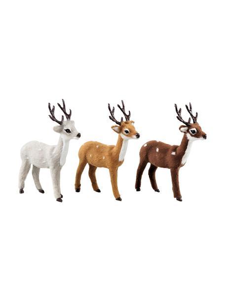 Decoratieve herten Deer, 3 stuks, Polyresin, Bruin, grijs, wit, 13 x 13 cm