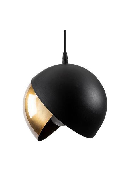 Lampada a sospensione nera-dorata Berceste, Paralume: metallo rivestito, Baldacchino: metallo rivestito, Ottonato, nero, Ø 20
