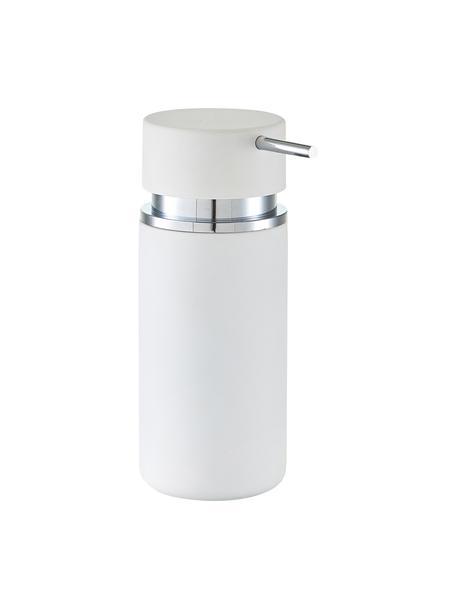 Keramik-Seifenspender Mateo, Pumpkopf: Kunststoff, verchromt, Weiss, Chrom, Ø 7 x H 17 cm