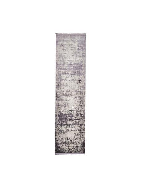 Glanzende loper Cordoba in grijstinten met franjes, vintage stijl, Bovenzijde: 70% acryl, 30% viscose, Onderzijde: 100% katoen, Lichtgrijs, donkergrijs, 80 x 300 cm