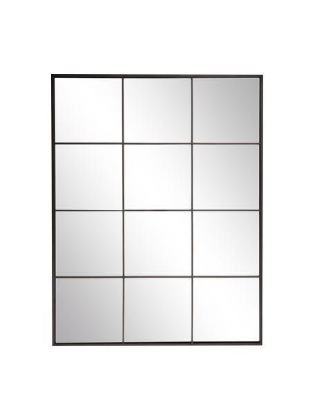 Eckiger Wandspiegel Clarita mit schwarzem Metallrahmen, Rahmen: Metall, pulverbeschichtet, Rückseite: Mitteldichte Holzfaserpla, Spiegelfläche: Spiegelglas, Schwarz, 70 x 90 cm