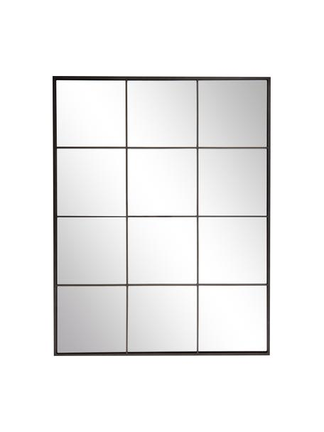 Specchio da parete con cornice in metallo nero Clarita, Cornice: metallo verniciato a polv, Retro: pannello di fibra a media, Superficie dello specchio: lastra di vetro, Nero, Larg. 70 x Alt. 90 cm
