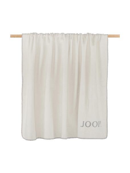 Dubbelzijdige fleece plaid Melange Doubleface in gebroken wit en grijs, 58% katoen, 35% polyacryl, 7% polyester, Gebroken wit, grijs, 150 x 200 cm