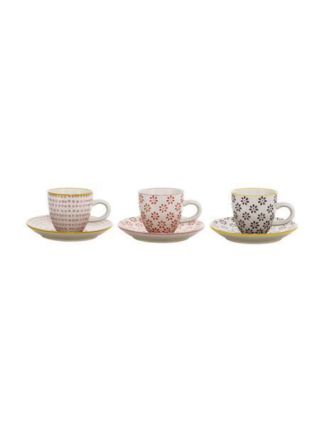 Tazas con platitos Line, 3uds., Cerámica, Blanco, rojo, rosa, negro, amarillo, Ø 6 x Al 6 cm