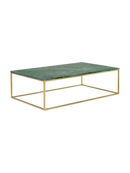 Marmeren salontafel Alys, Tafelblad: marmer, Frame: gecoat metaal, Groen marmer, goudkleurig, 120 x 35 cm