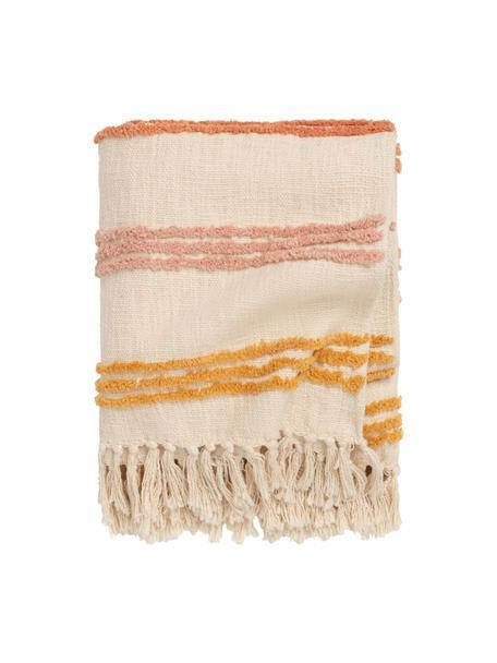 Pled z bawełny z frędzlami  Lea, 100% bawełna, Odcienie kremowego, wielobarwny, S 120 x D 180 cm