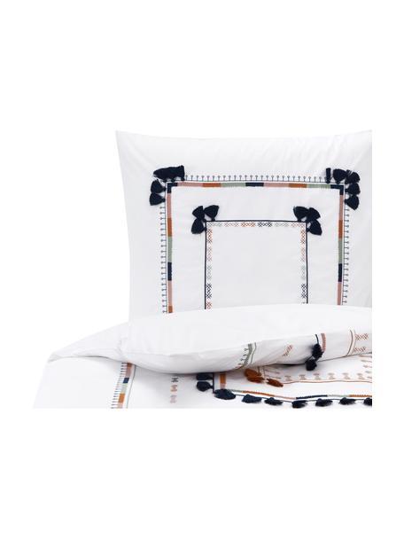 Bestickte Baumwollperkal-Bettwäsche Inda mit Quasten, Webart: Perkal Fadendichte 200 TC, Weiss, 135 x 200 cm + 1 Kissen 80 x 80 cm