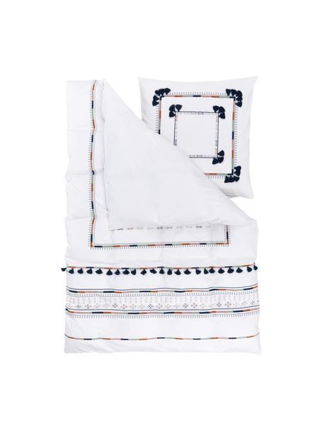 Bestickte Baumwollperkal-Bettwäsche Inda mit Quasten, Webart: Perkal Fadendichte 200 TC, Weiß, 135 x 200 cm + 1 Kissen 80 x 80 cm