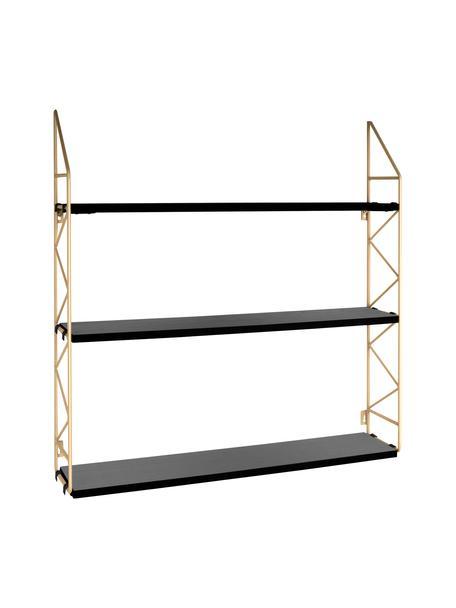 Estantería de pared pequeña Zig Zag, Estructura: metal pintado., Estantes: tablero de fibras de dens, Dorado, negro, An 60 x Al 60 cm