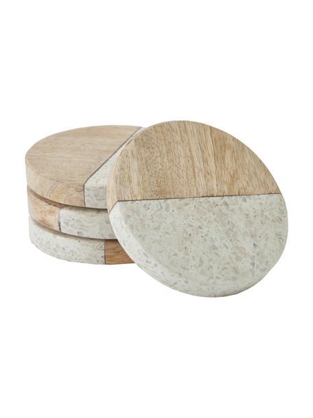Komplet podstawek z drewna mangowego i kamienia Augustine, 4 szt., Lastryko, drewno mangowe, Drewno mangowe, beżowy, Ø 10 x W 2 cm