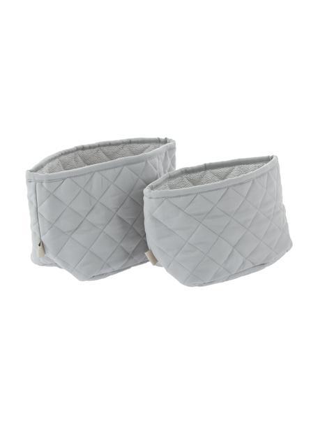 Set 2 cestini in cotone organico Wave, Rivestimento: 100% cotone biologico, Grigio, Set in varie misure
