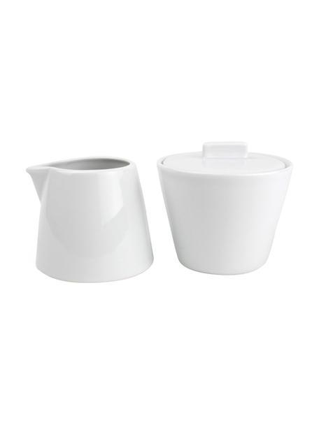 Komplet do mleka i cukru z porcelany Stripeless, 2 elem., Porcelana, Biały, Komplet z różnymi rozmiarami
