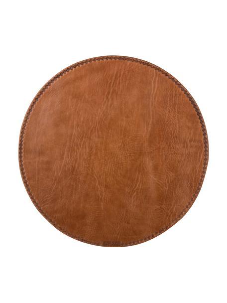 Ronde leren placemat Lia, Leer, Bruin, Ø 40 cm