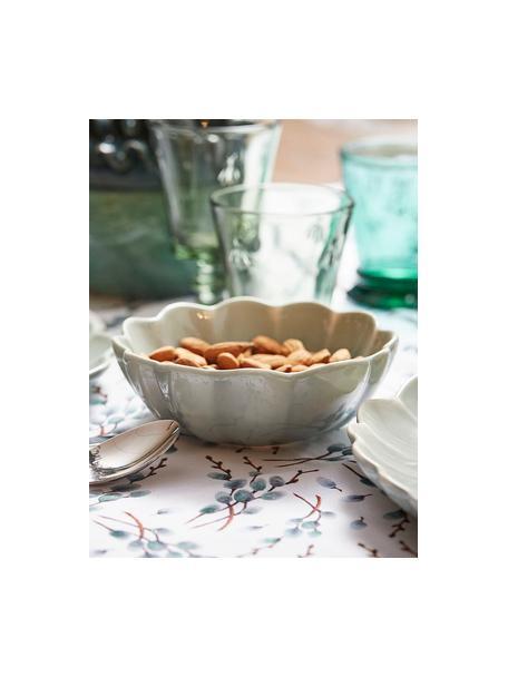 Katoenen tafelkleed Genevrier met takjesmotieven, 100% katoen, Wit, grijs, bruin, Voor 4 - 6 personen (B 160 x L 160 cm)