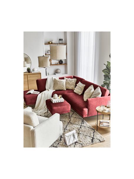 Poggiapiedi da divano in velluto rosso ruggine Fluente, Rivestimento: velluto (rivestimento in , Struttura: legno di pino massiccio, Piedini: metallo verniciato a polv, Velluto rosso ruggine, Larg. 62 x Alt. 46 cm