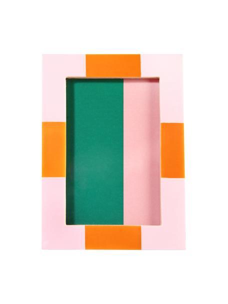 Cornice fotografica Check, Materiale sintetico, Rosa, bianco crema, 14 x 19 cm