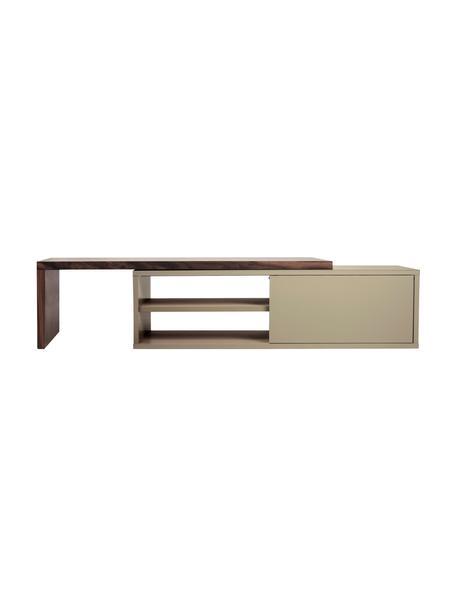 Uittrekbare tv-meubel Lieke met schuifdeur, Walnoothout, grijs, 110 x 32 cm