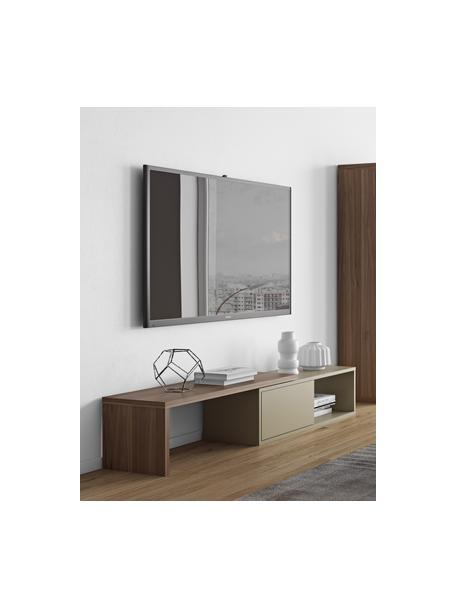 Mobile TV basso con anta scorrevole Lieke, Struttura e frontale: pannello di fibra a media, Legno di noce, grigio, Larg. 110 a 203 x Alt. 32 cm