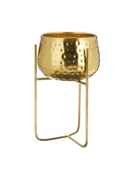 Kleiner Übertopf Werton aus Metall, Metall, beschichtet, Goldfarben, Ø 13 x H 23 cm