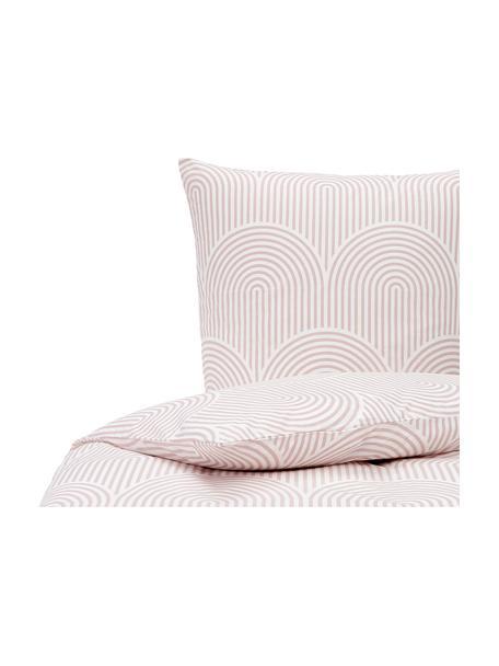 Pościel z bawełny Arcs, Blady różowy, biały, 135 x 200 cm + 1 poduszka 80 x 80 cm