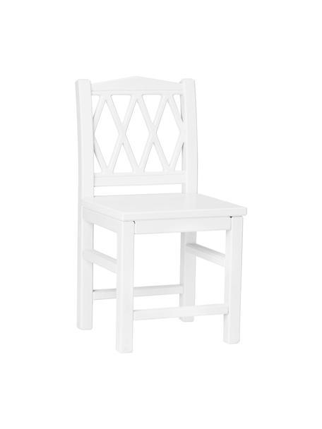 Sedia per bambini in legno bianco Harlequin, Legno di betulla, pannello di fibra a media densità (MDF) verniciato con vernice senza VOC, Bianco, Larg. 30 x Alt. 58 cm