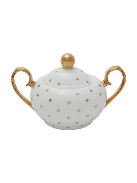 Azucarero Miss Golightly, Porcelana fina, dorada, Blanco, dorado, Ø 9 x Al 8 cm