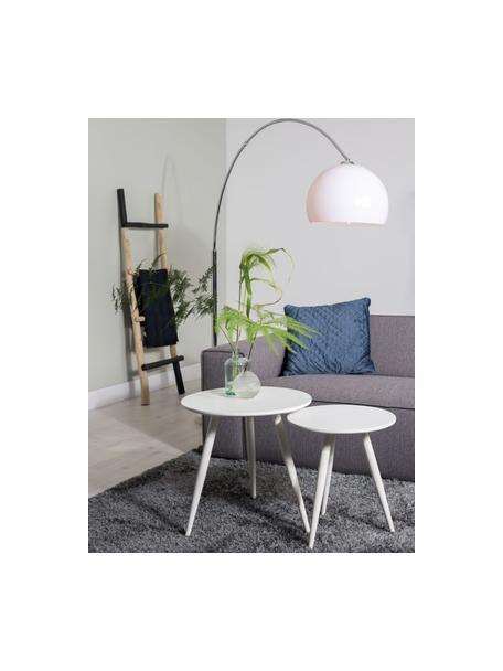Set 2 tavolini rotondi Daven, Piano d'appoggio: Pannello di fibra a media, Gambe: metallo verniciato a polv, Bianco, Set in varie misure