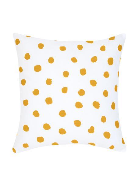 Gepunktete Kissenhülle Riley in Orange/Weiß, 100% Baumwolle, Orange, Weiß, 40 x 40 cm