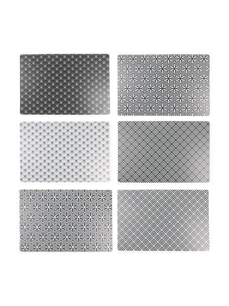 Kunststoffen placemats Deco Life, 6-delig, PVC-kunststof, Zwart, grijs, 30 x 45 cm