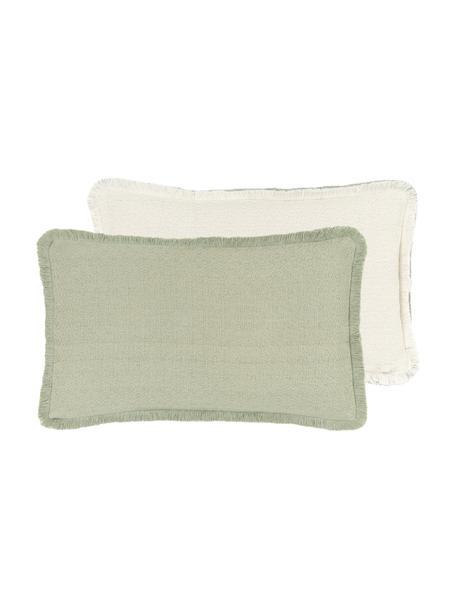 Federa arredo reversibile verde menta con frange Loran, 100% cotone, Verde, Larg. 30 x Lung. 50 cm