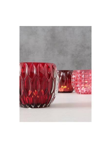 Set de portavelas Aliza, 3pzas., Vidrio, Rojo, rosa, Ø 10 cm