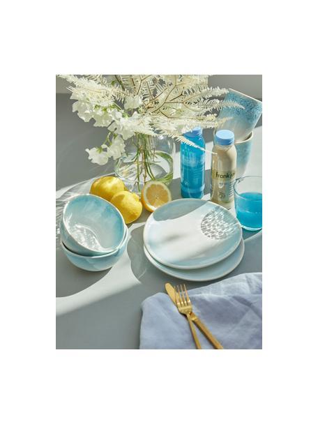Set van 2 handgemaakte ontbijtborden Amalia met effectief glazuur, Keramiek, Lichtblauw, crèmewit, Ø 20 cm